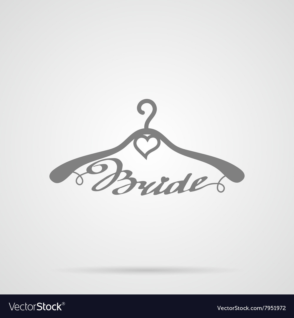 Gray wedding hangers bride icon vector