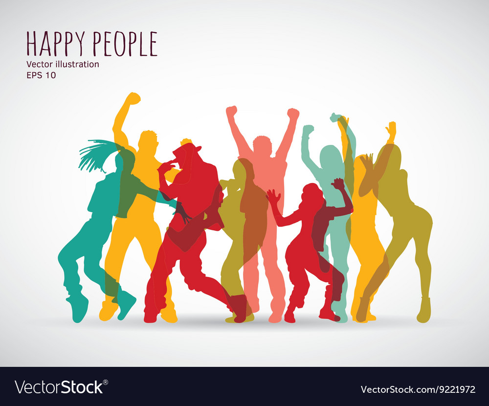 Happy people group shadow color silhouette vector