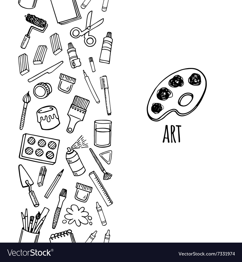 Artist tools sketch hand drawn vertical banner vector
