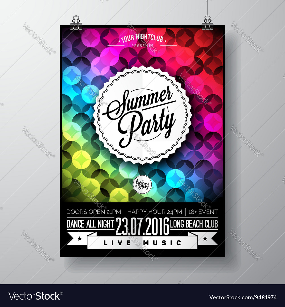Summer beach party flyer design vector