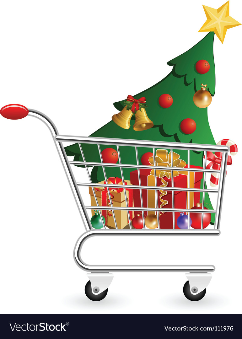 Christmas shopping cart vector