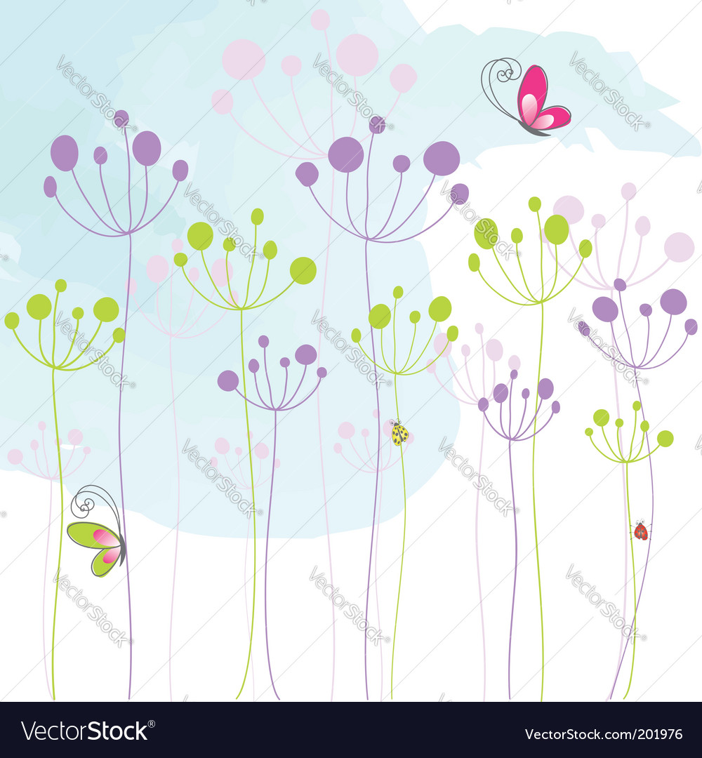 Floral butterfly background vector