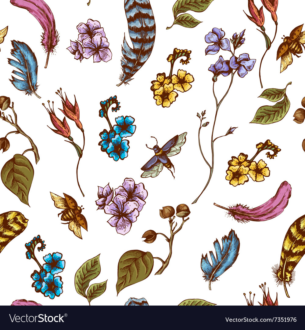 Vintage seamless background with flowers beetles vector