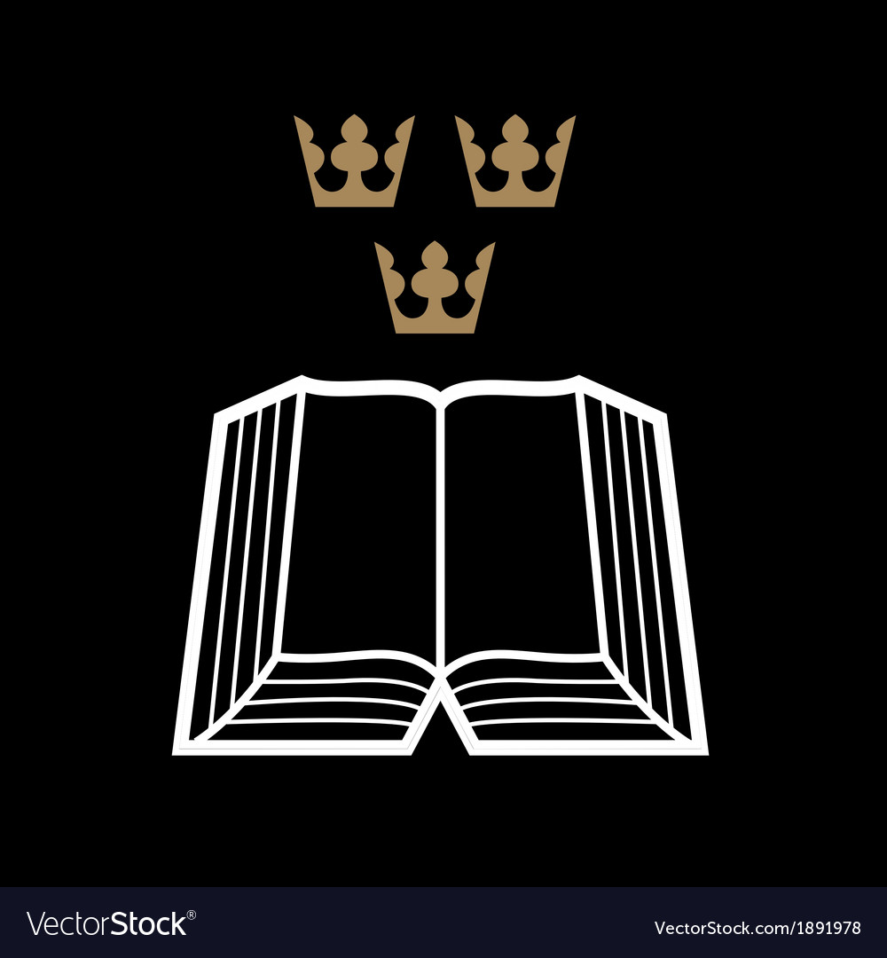 Bible with crowns vector
