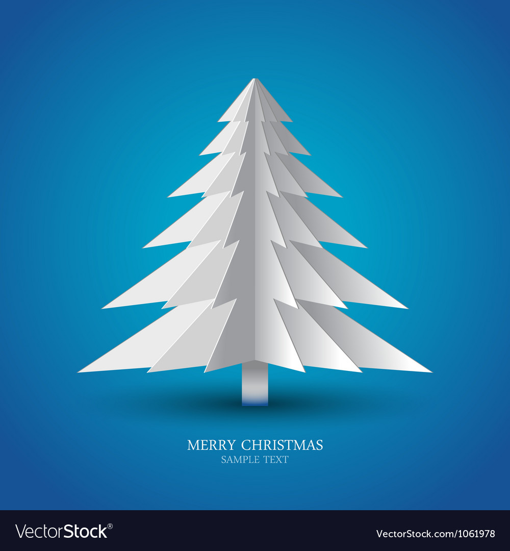 Simple christmas tree made from pieces of paper vector