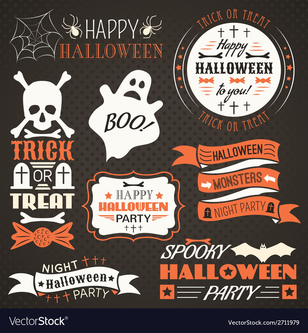 Halloween vintage set  labels ribbons vector