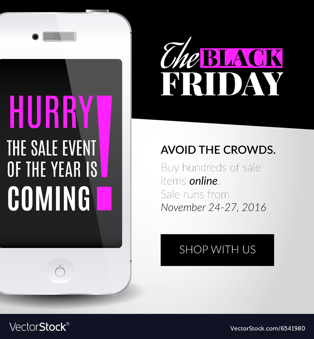 Black friday banner with smartphone vector