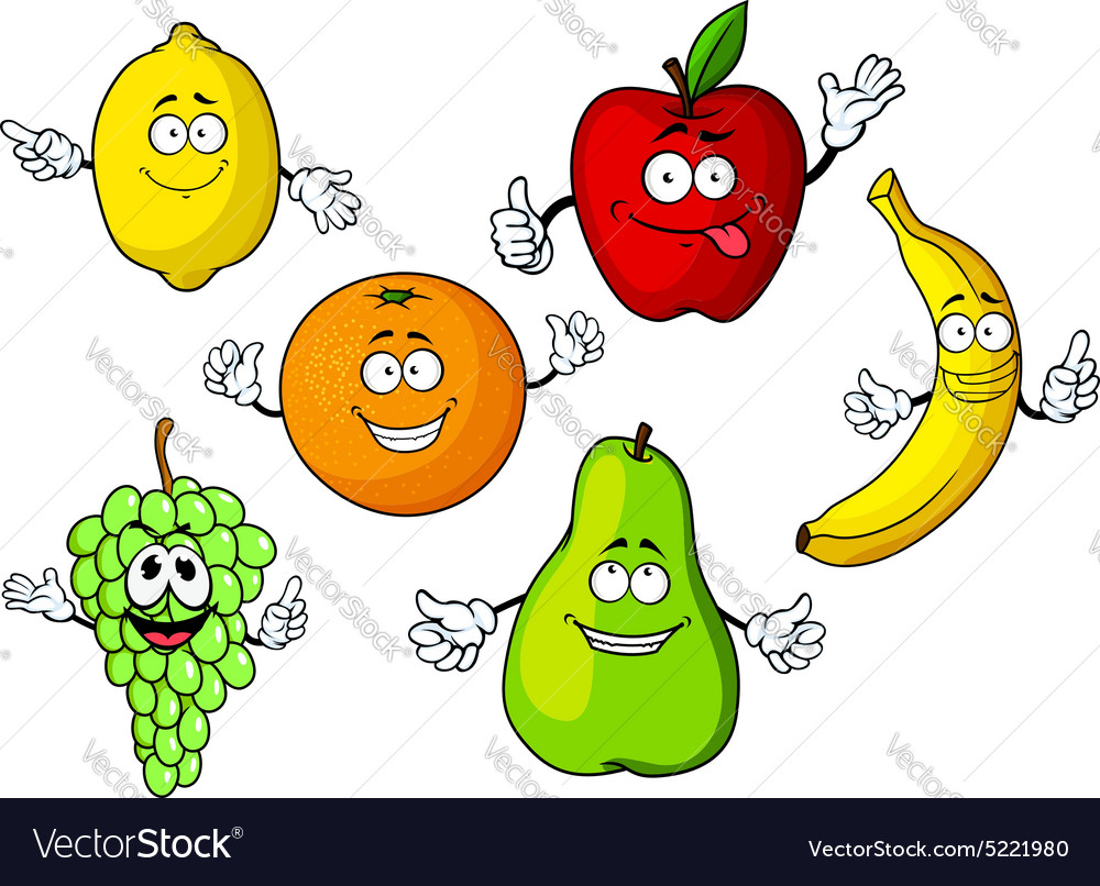 Cartoon tropical and garden fruits characters vector