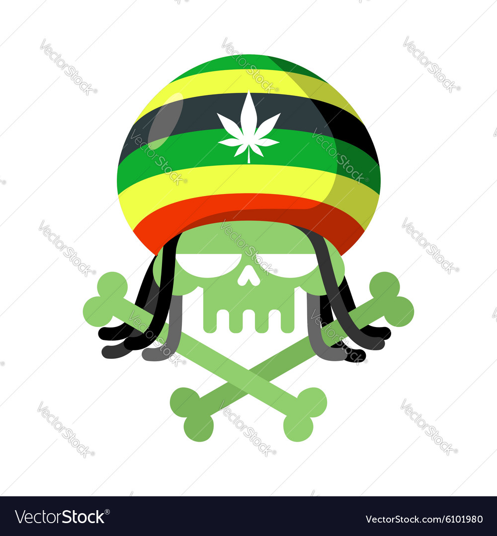Rasta skull with dreadlocks and rasta cap green vector