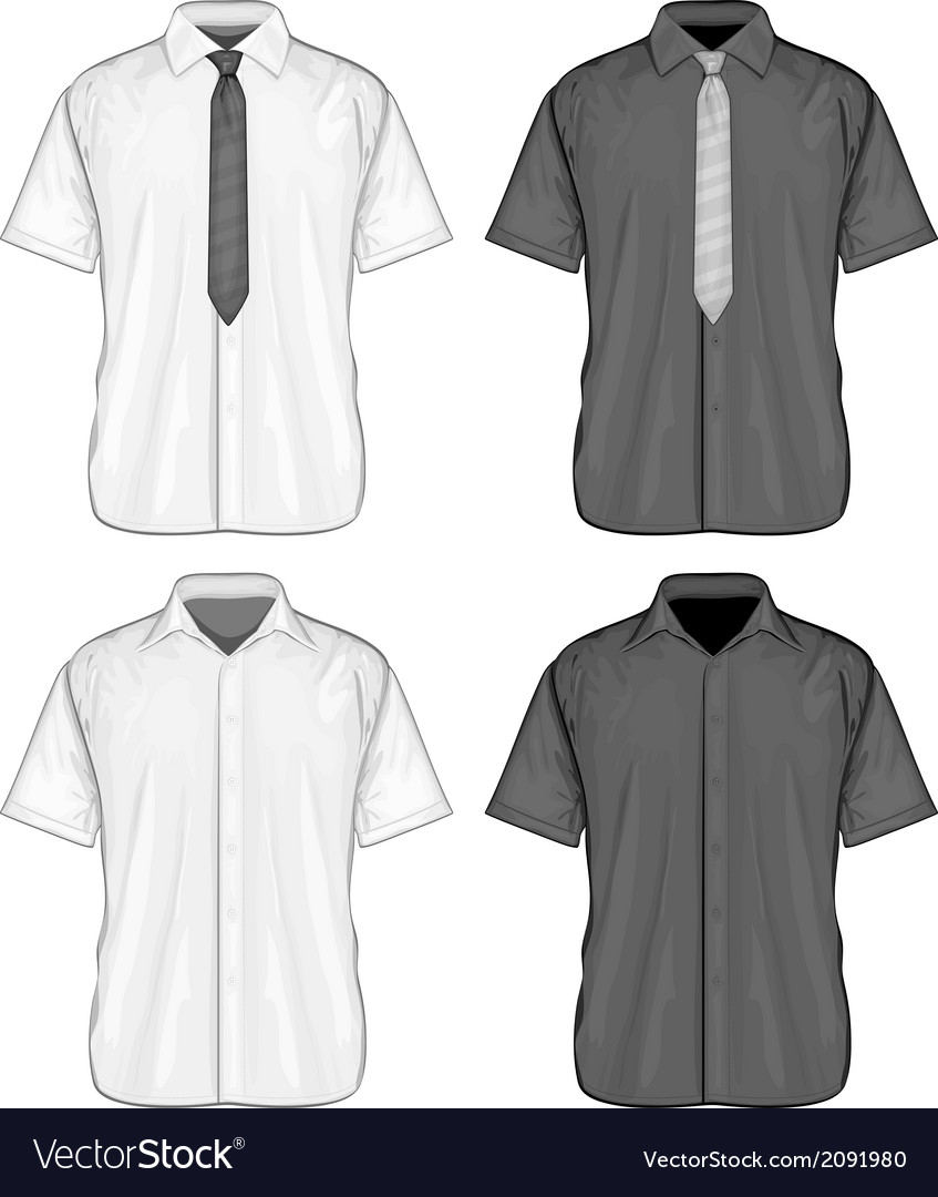 Short sleeve dress shirts vector