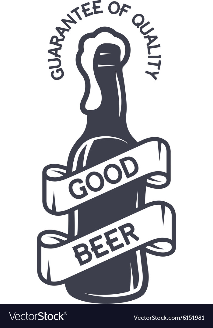 A bottle of beer and a ribbon for text vector