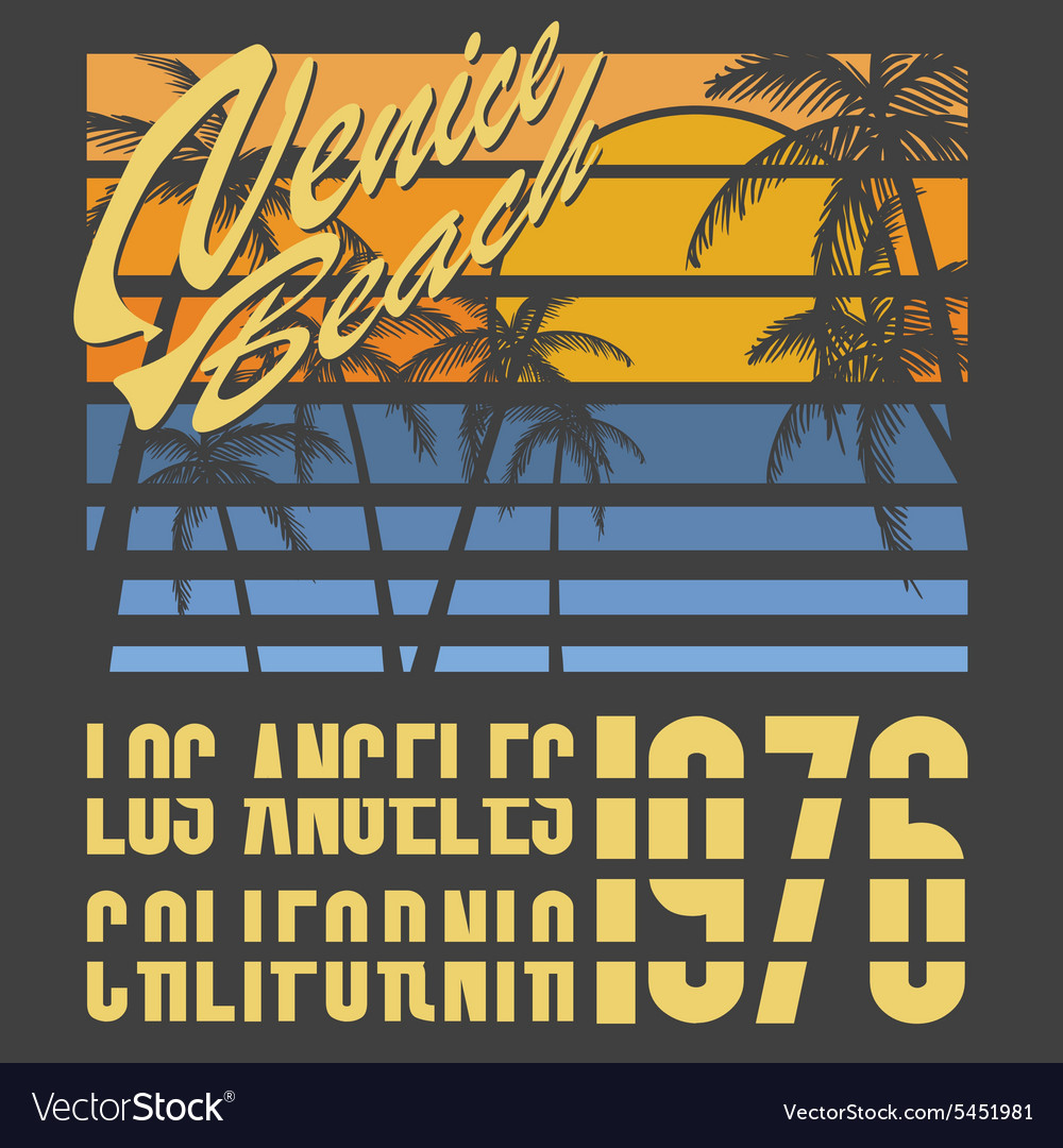 California venive beach typography tshirt vector