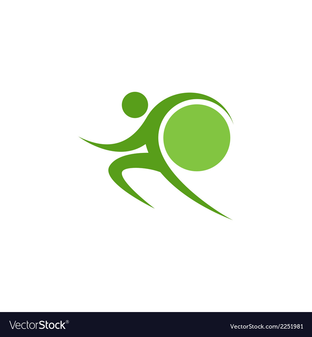 Green sportman and world vector