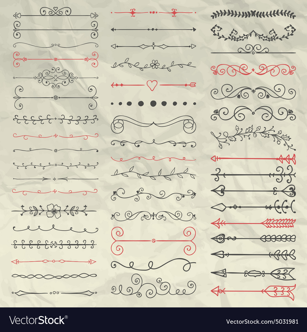 Hand drawn dividers branches swirls on crumpled vector
