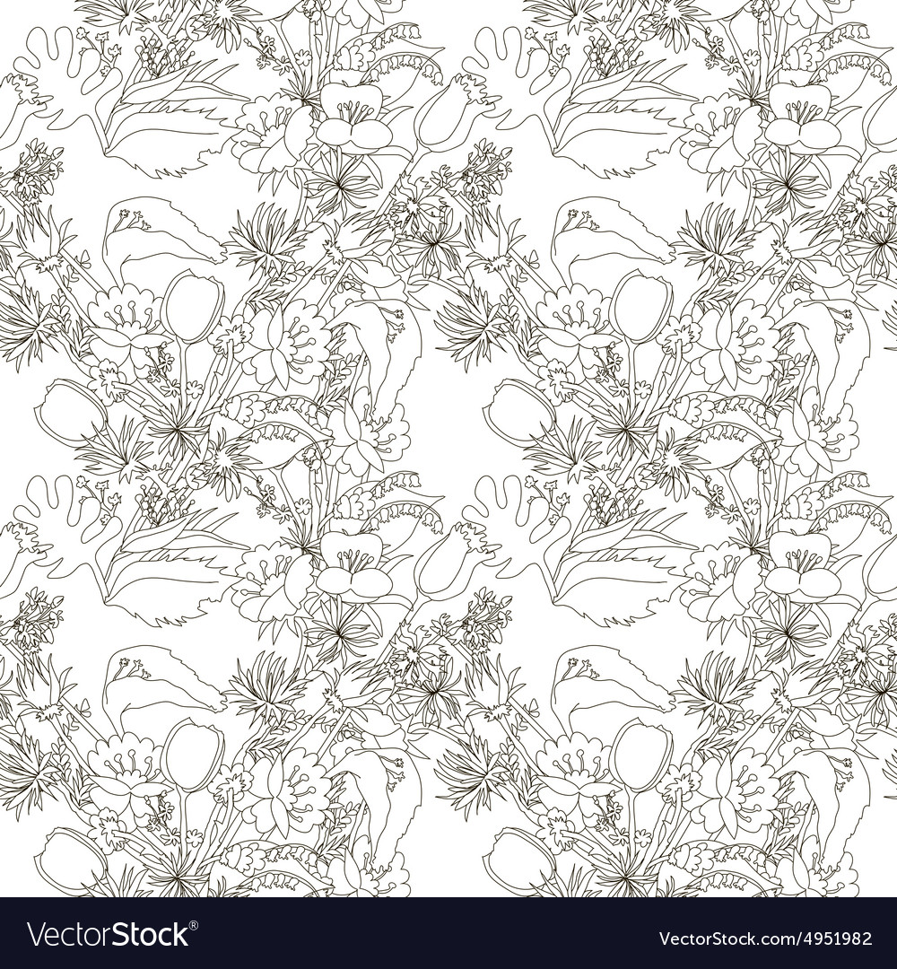 Floral seamless pattern with wildflowers vector