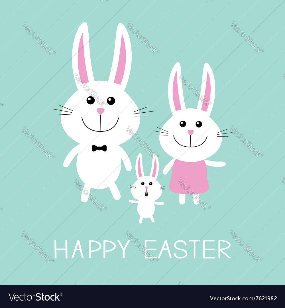 Happy easter bunny rabbit familyfather mother and vector