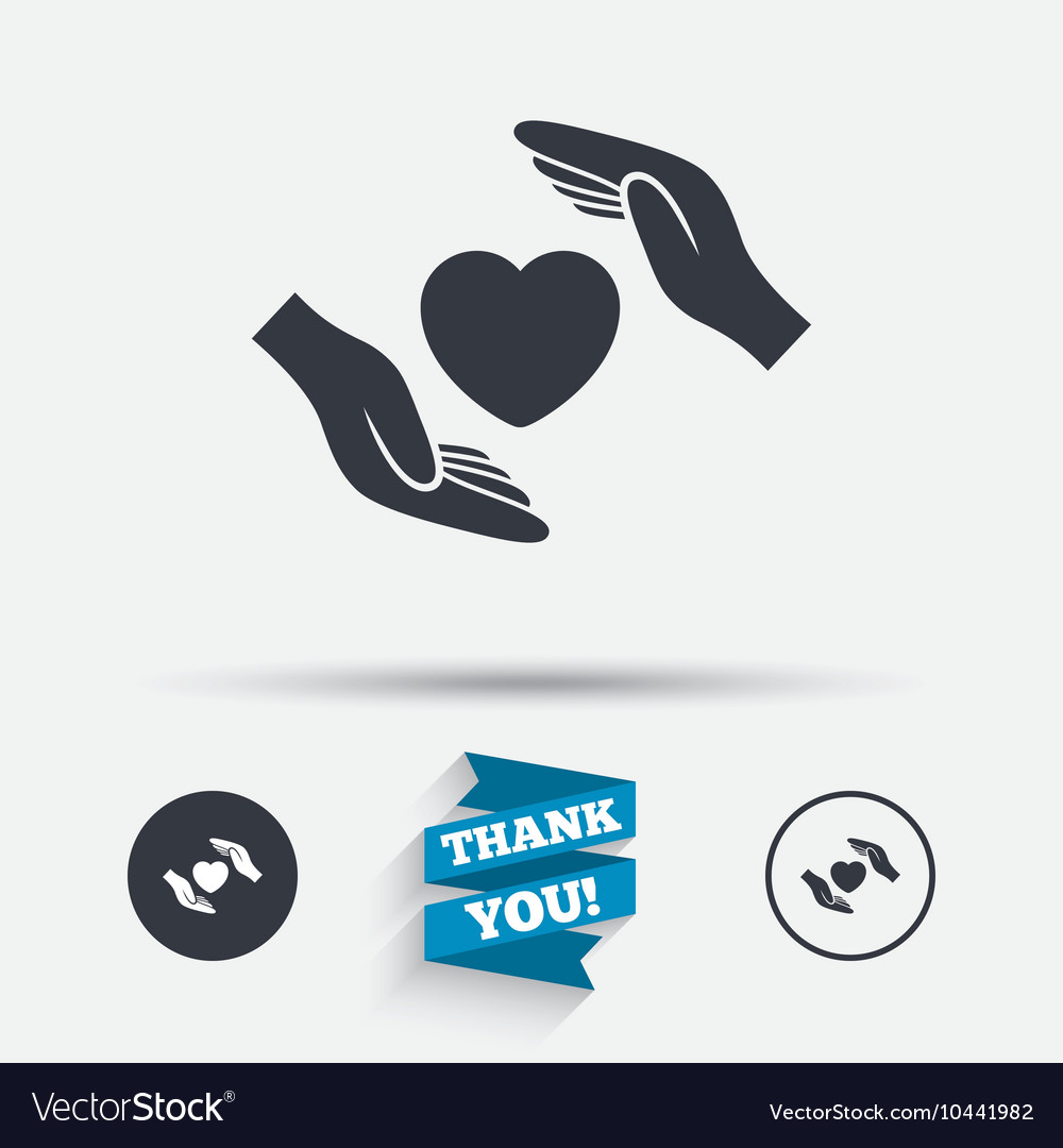 Life insurance sign icon hands protect cover vector