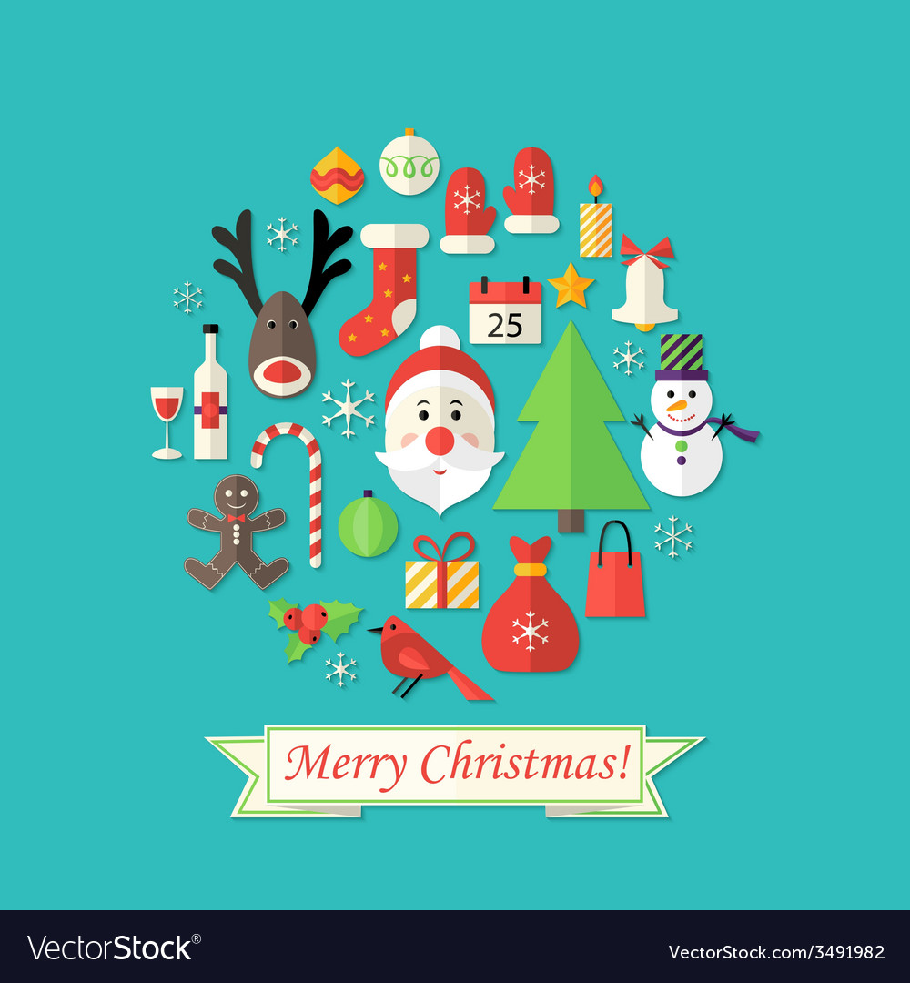 Merry christmas card with flat icons over blue vector