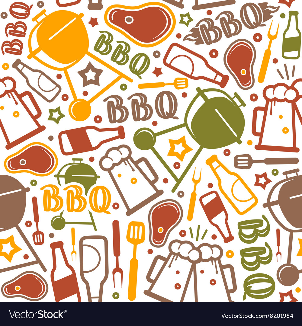 Barbecue seamless pattern vector