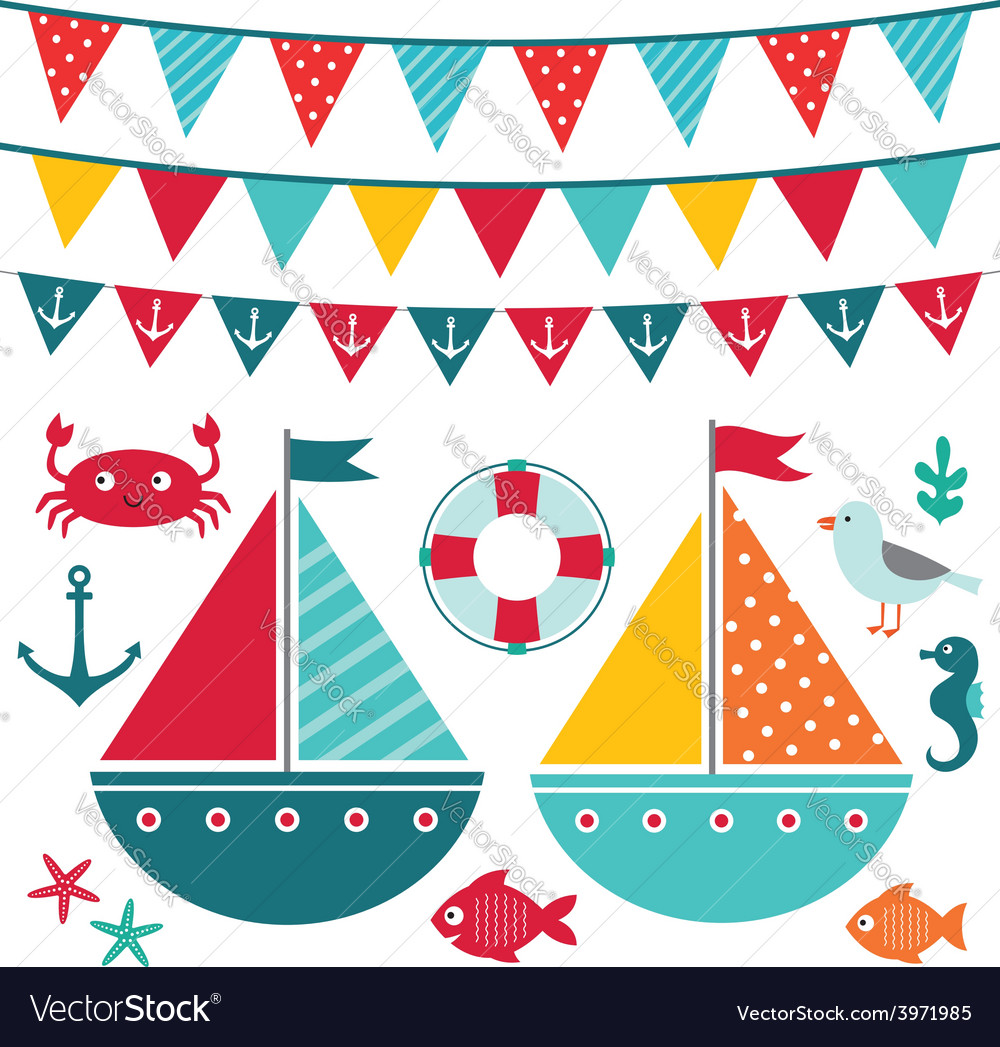 Sea elements and decoration set vector