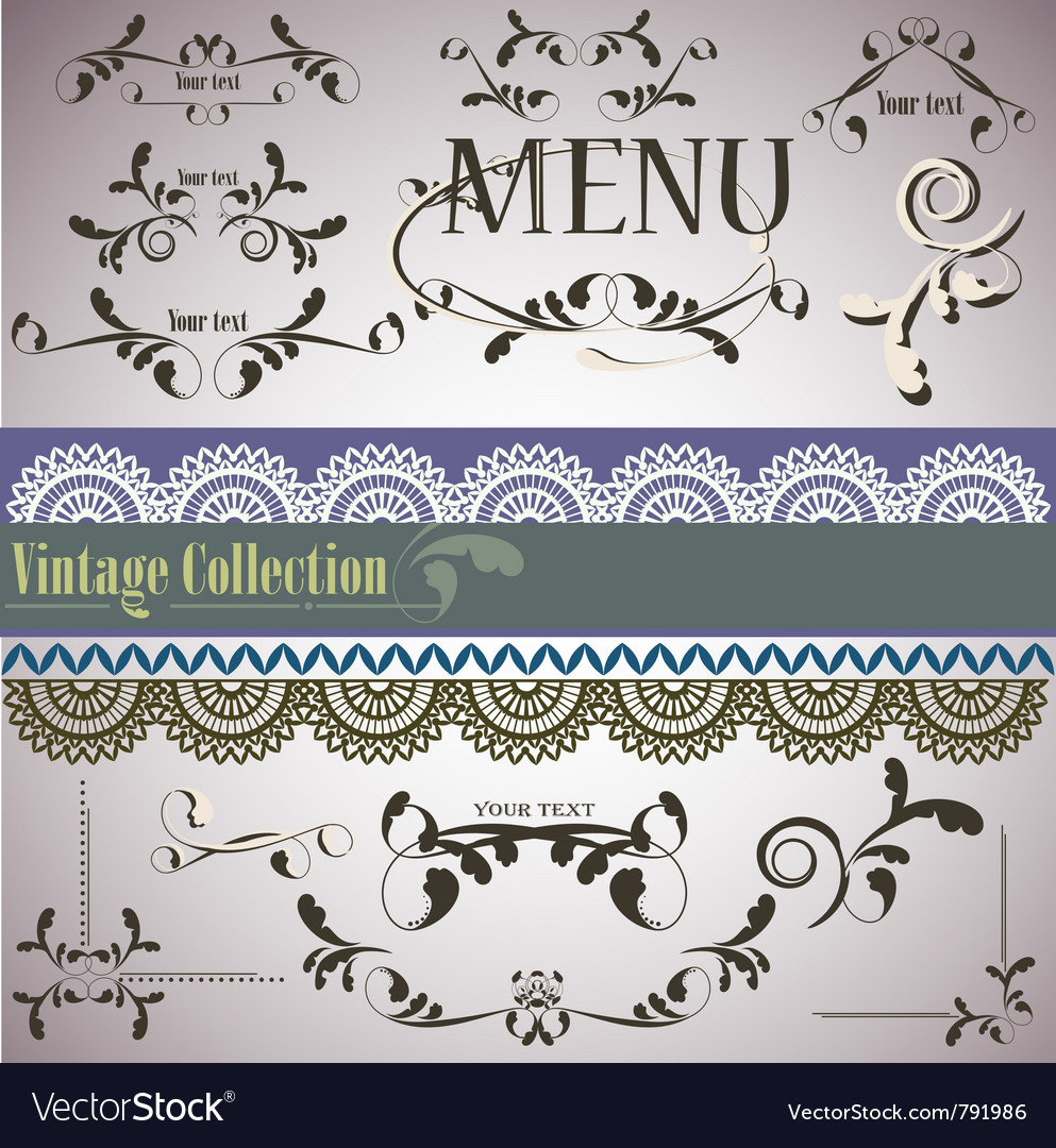 Filigree vintage elements vector