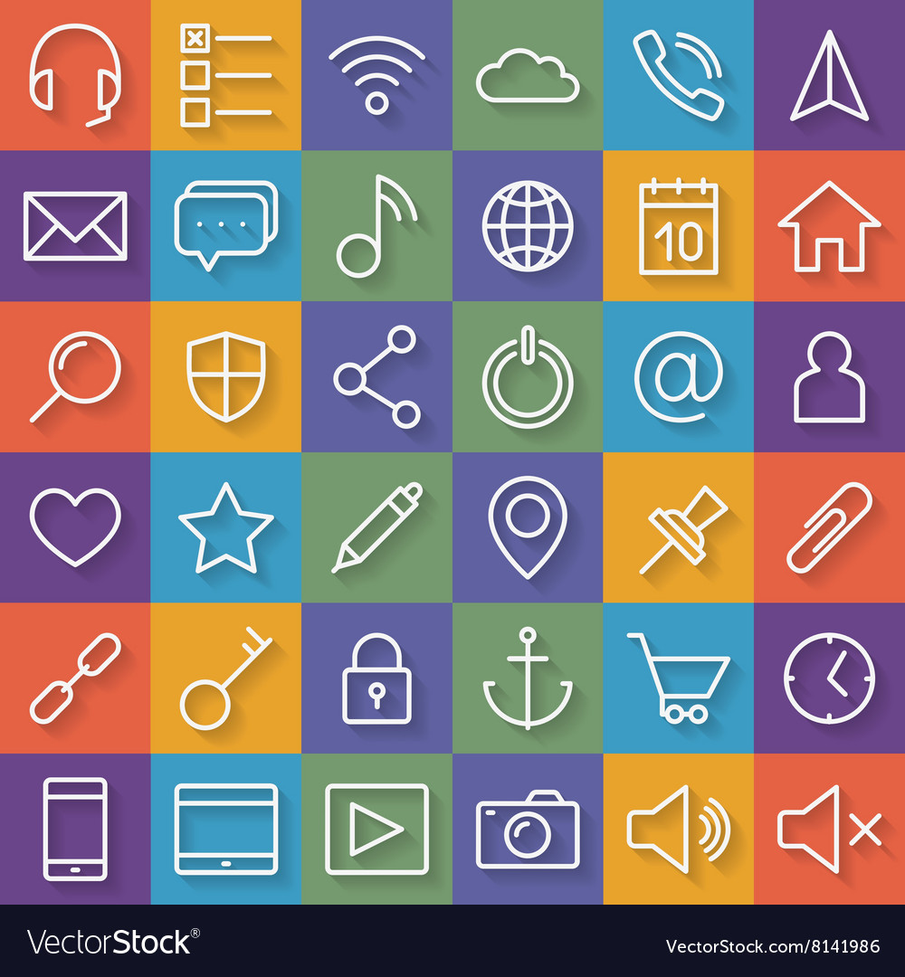 Thin lines web icons set for mobile apps and vector