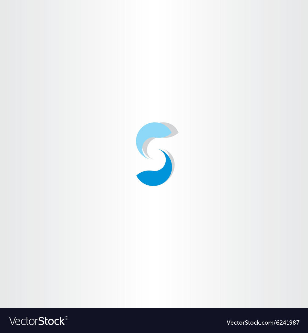 Blue fish letter s logo icon vector