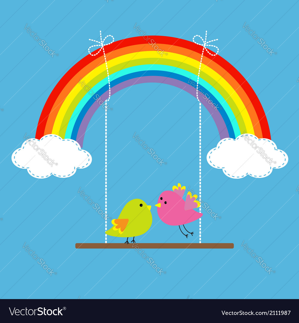 Rainbow and two clouds in the sky dash line love vector