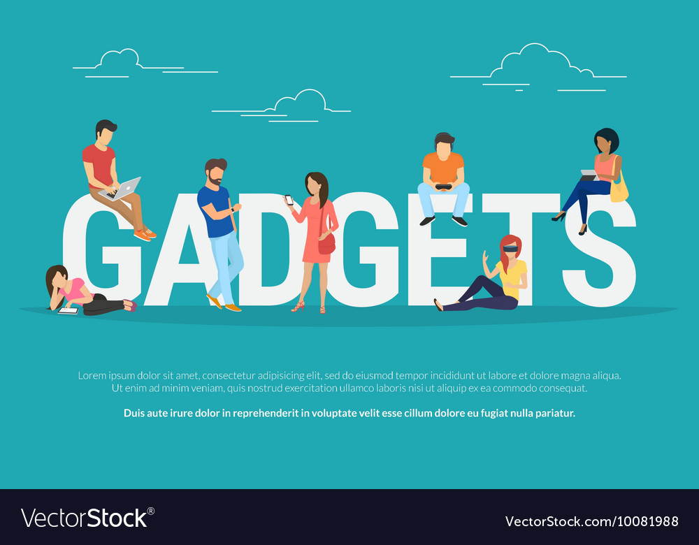 Gadgets concept of young people using vector