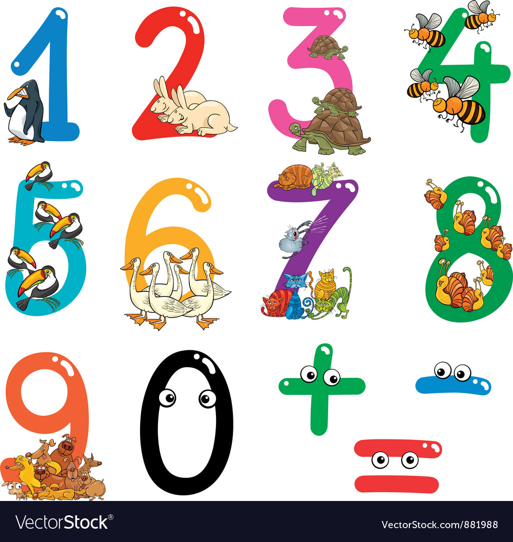 Numbers with cartoon animals vector