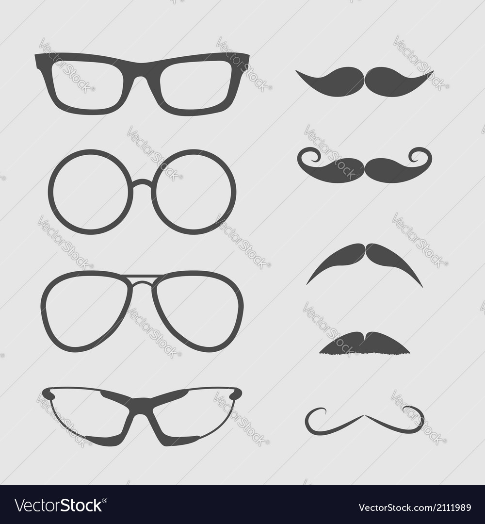 Glasses and mustache set isolated icons vector