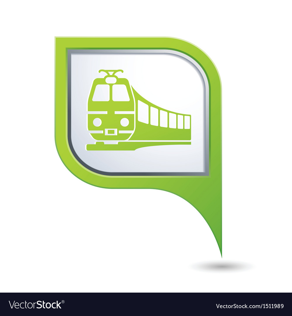 Train icon on green map pointer vector