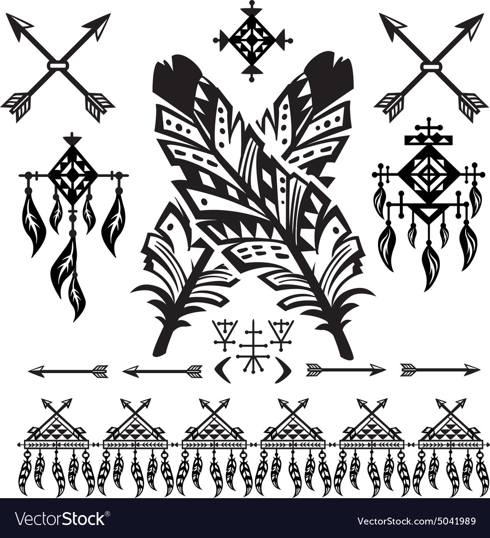 Tribal feathers and decorative elements vector