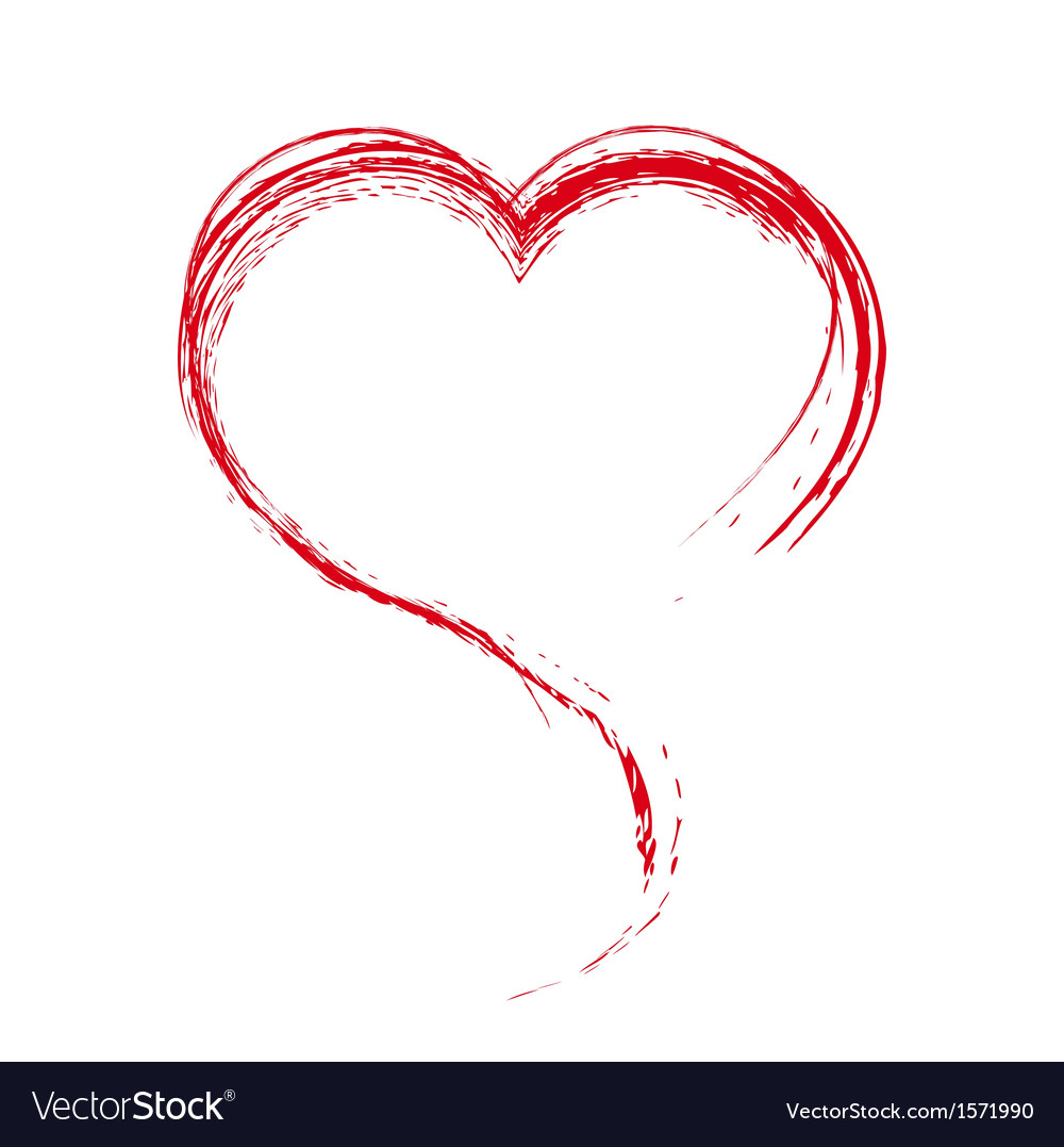 Heart painted with a brush design element vector