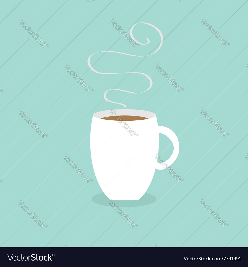 Coffee cup mug with smoke steam blue background vector