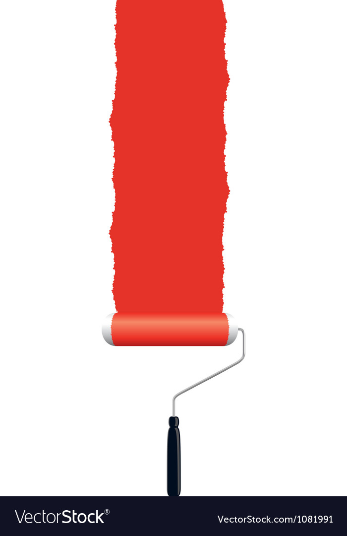 Paint roller red vector