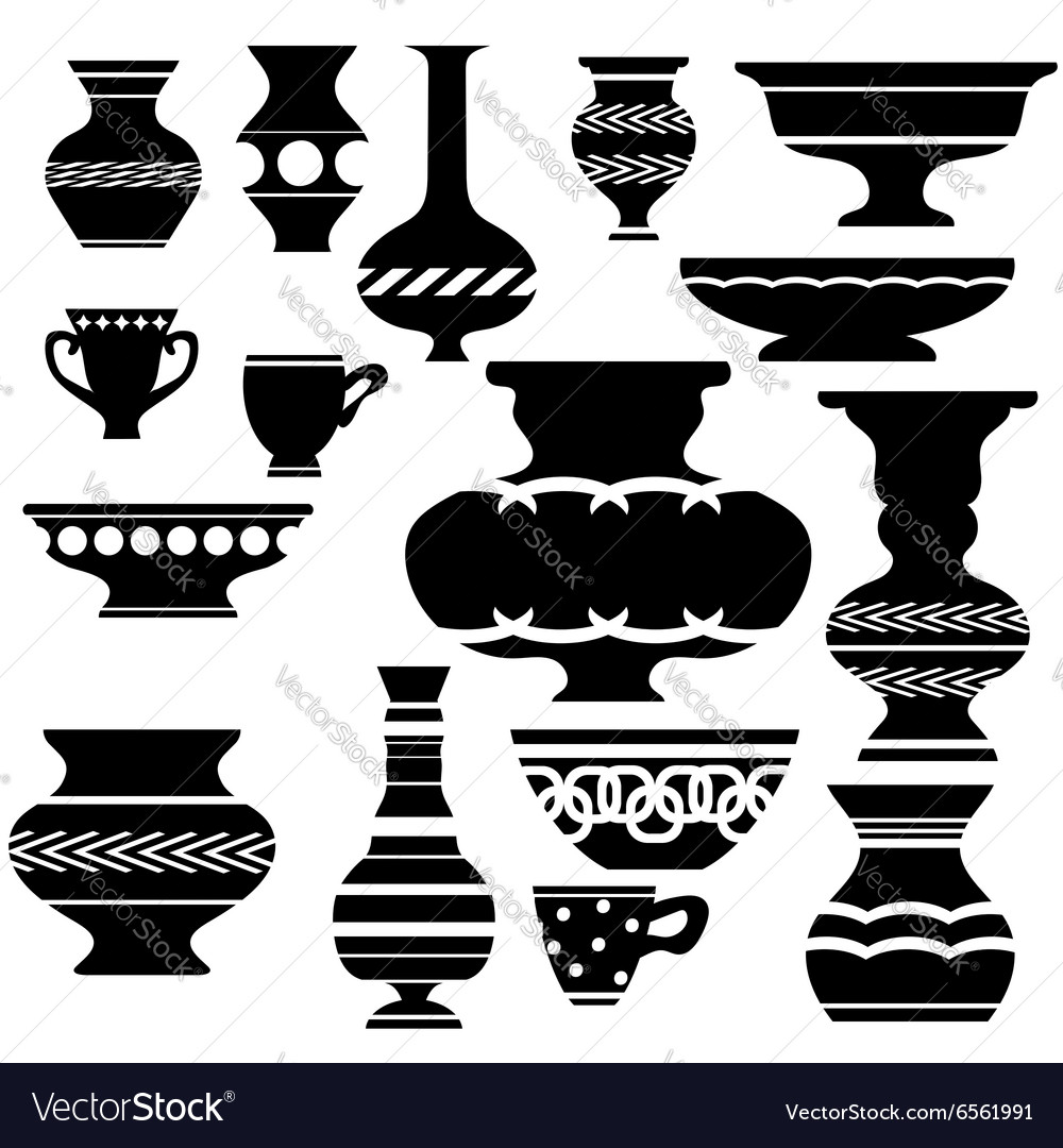 Set of vases silhouettes vector