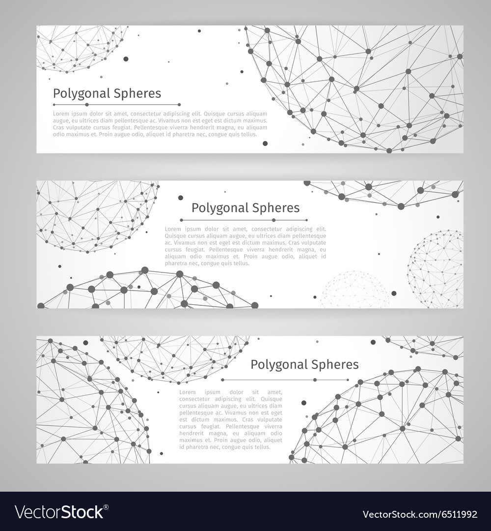 Banners set with wireframe mesh polygonal vector