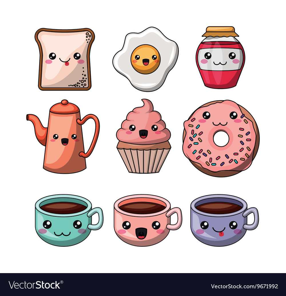 Set kawaii style food isolated icon design vector