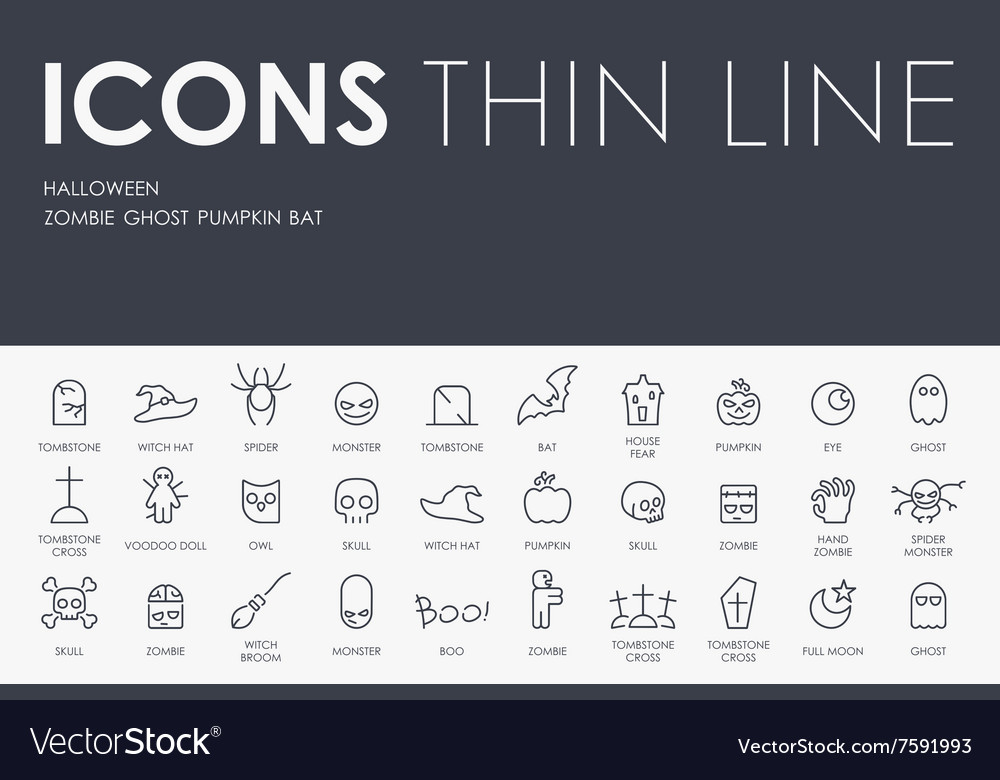Halloween thin line icons vector