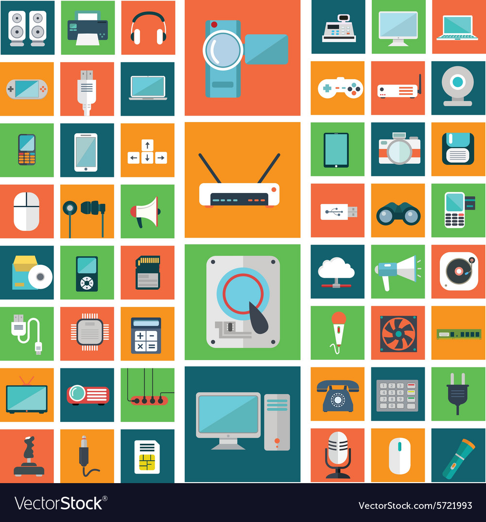 Set of modern flat electronic devices icons vector