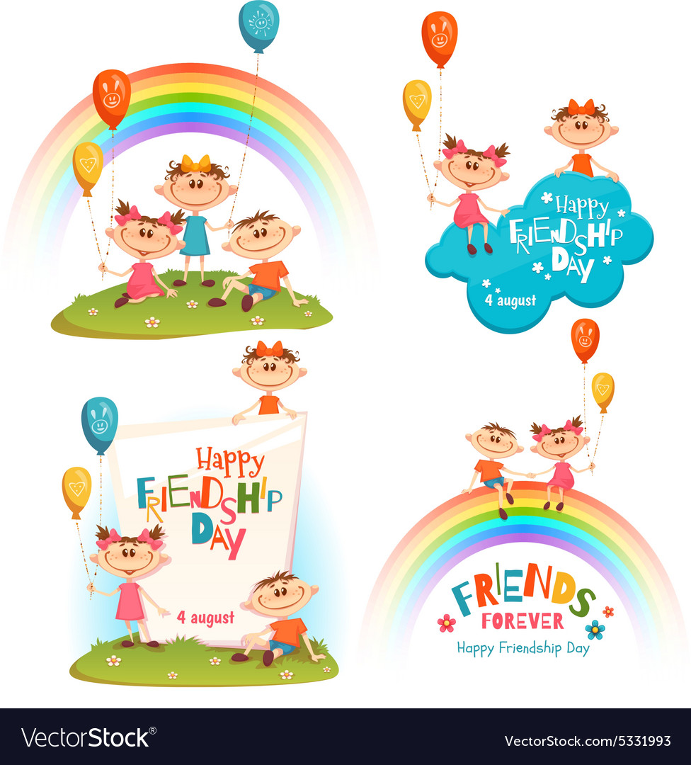 Set with poster of friendship day celebration vector