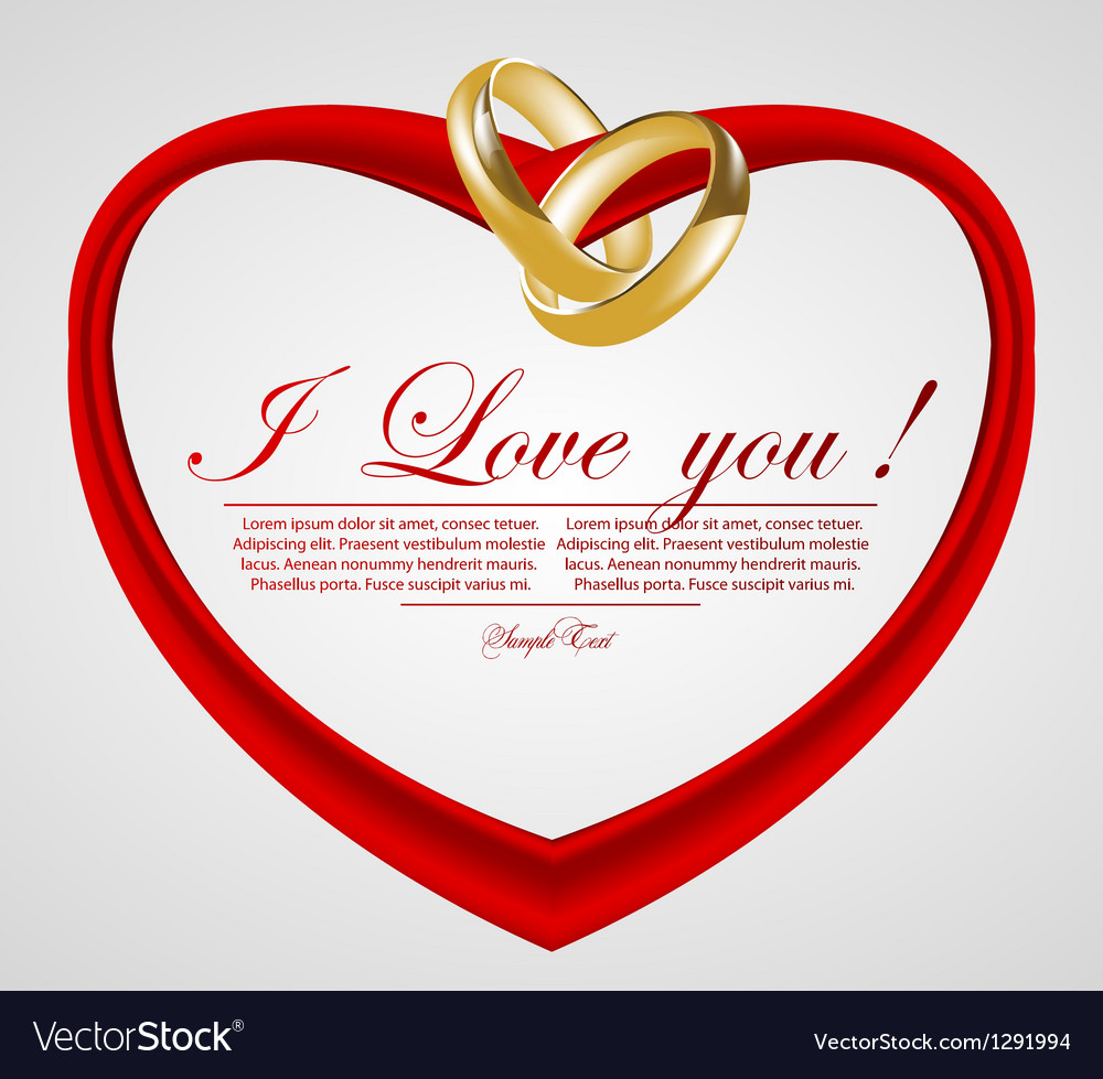 Abstract heart with wedding rings vector