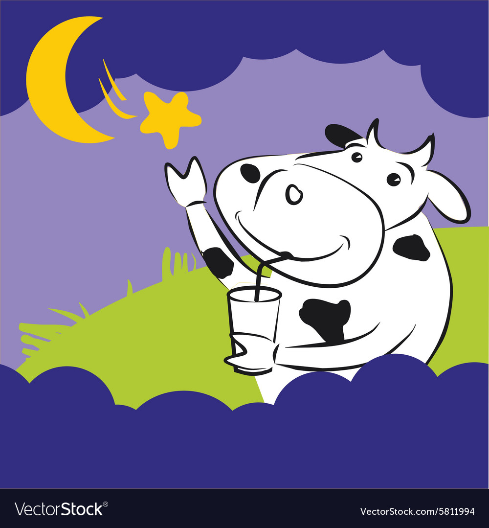 Cow with star at night vector