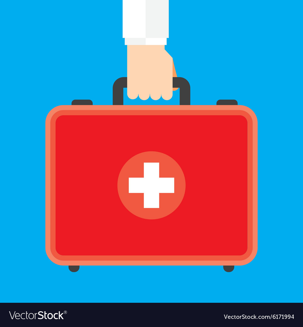 Hand holding first aid box vector