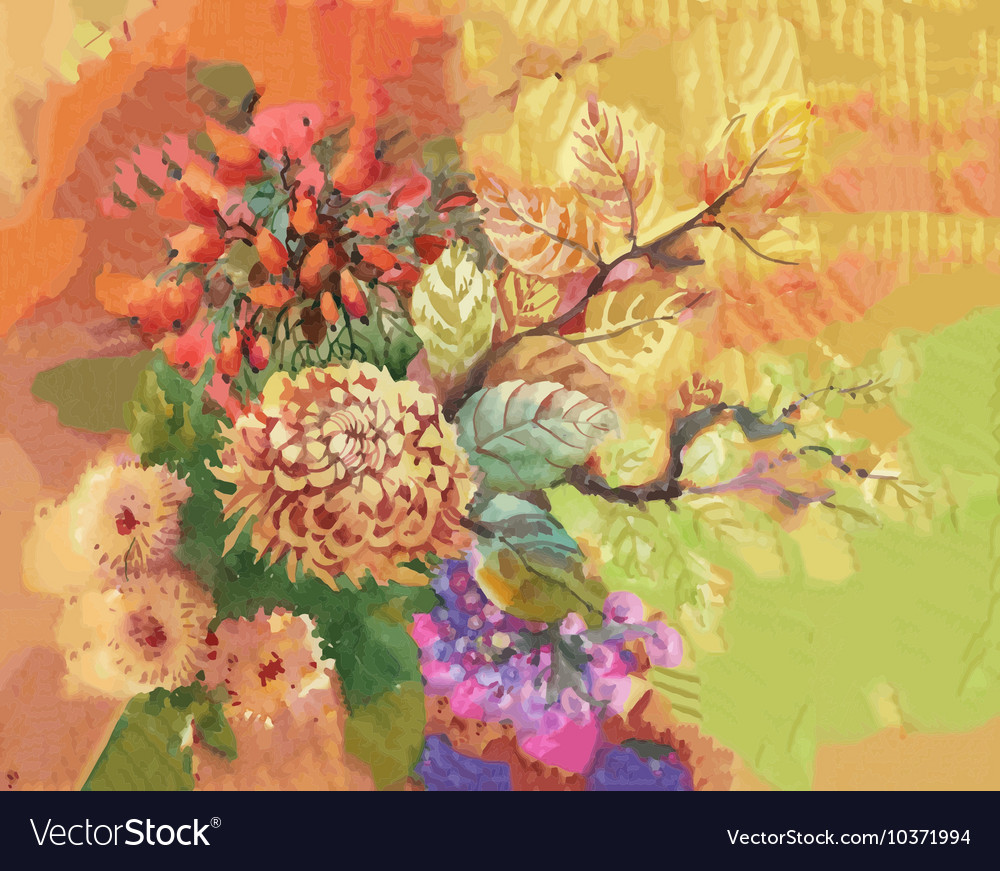 Watercolor flowers and leaves abstract background vector