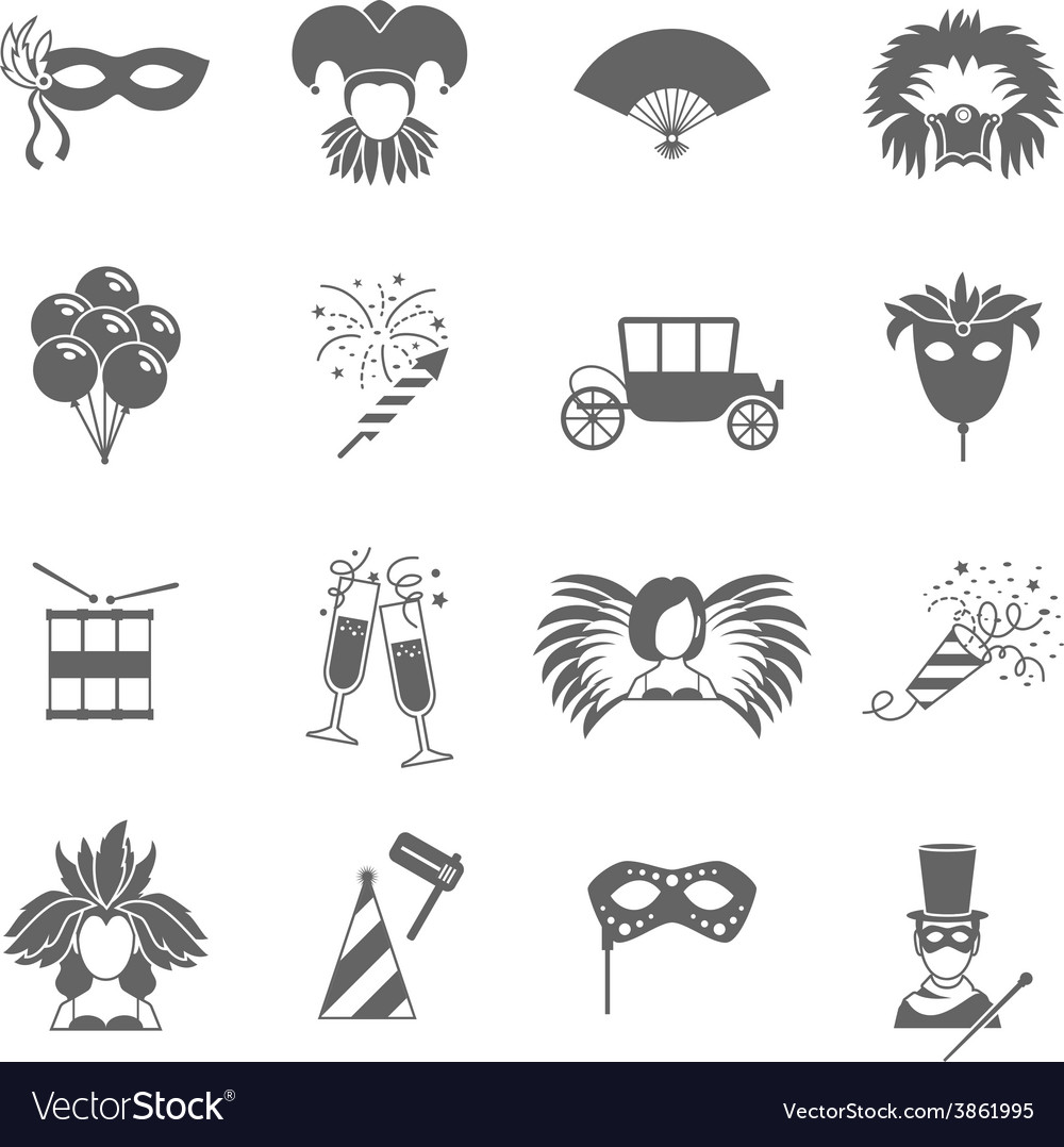 Carnival icons set black vector