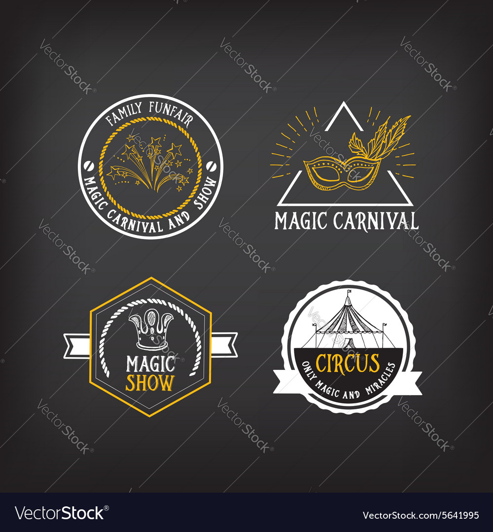 Circus and carnival vintage design label elements vector