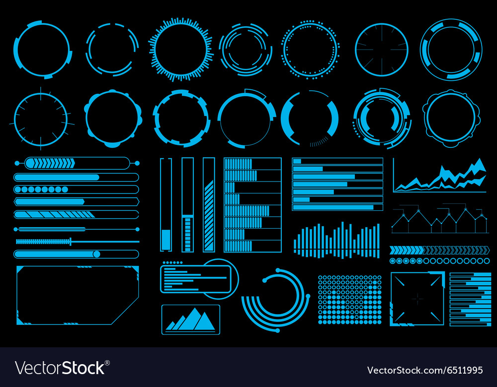 Futuristic user interface elements set vector