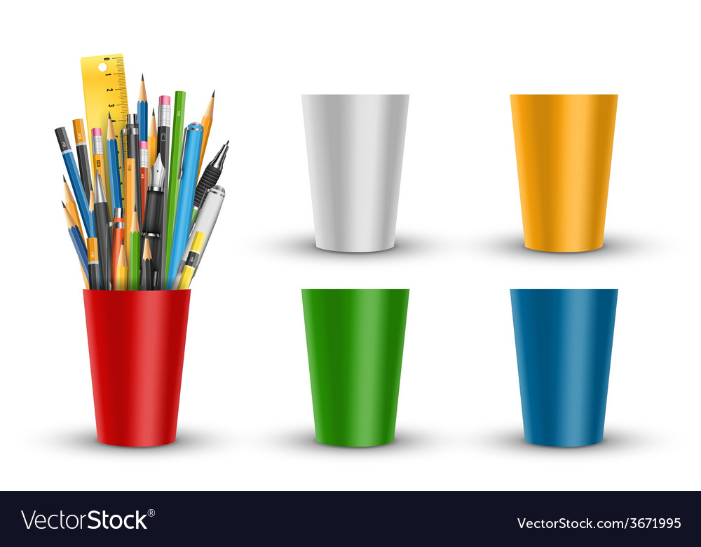 Pen and pencils in glass vector